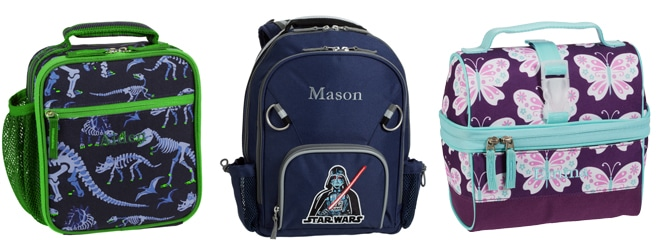L-R: Mackenzie Blue Dino Classic Lunch Bag, $19.60, Star Wars Darth Vader Small Backpack, $34.80, Mackenzie Plum Butterfly Retro Lunch Bag, $19.60, all available at Pottery Barn Kids