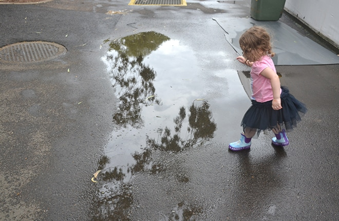 Jumping in muddy puddles at the Sydney Royal Easter Show
