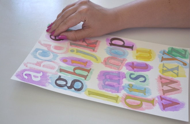 easy to make watercolour alphabet chart