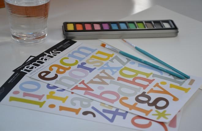 Watercolour alphabet chart materials