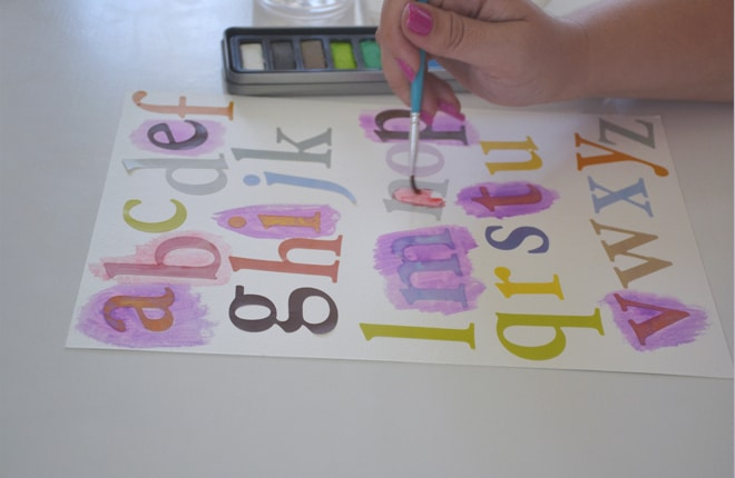 Painting watercolour alphabet chart