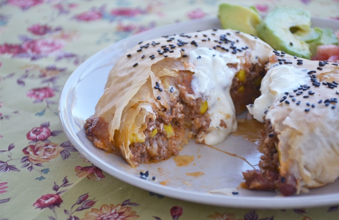 Mexican beef filo parcels - simple dinner recipes