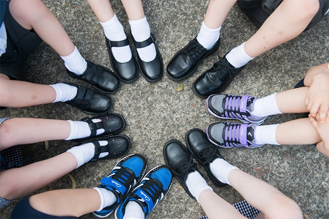 buying school shoes