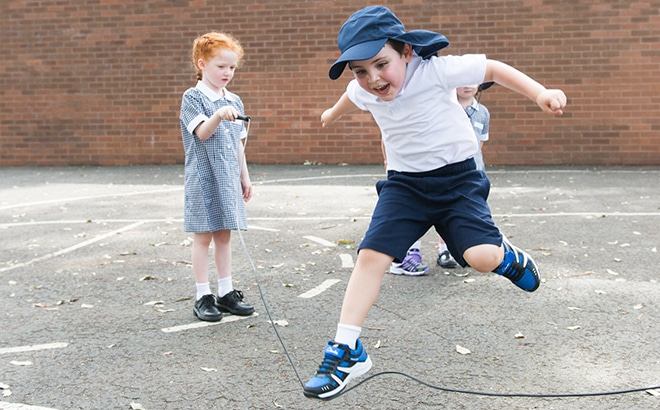 kids school shoes jumping rope