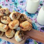 Sweet puff pastry scrolls